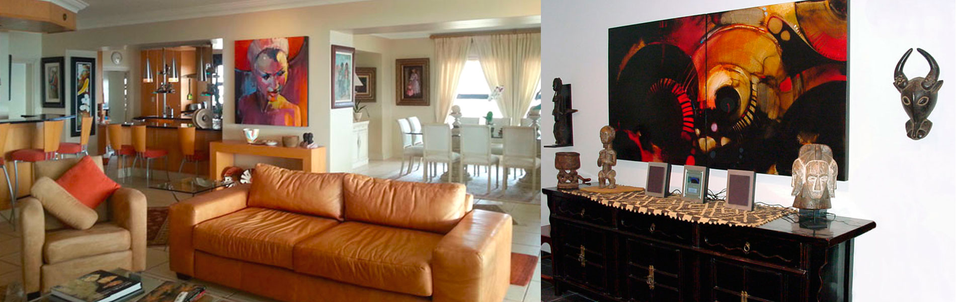 Collectors' Corner featuring images of Peter Pharoah artworks in their new homes