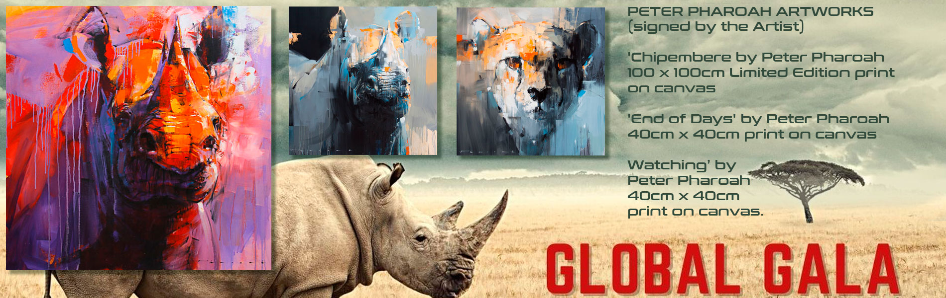 Place your bid and win a Peter Pharoah Fine Art print at the Helping Rhinos Global Gala