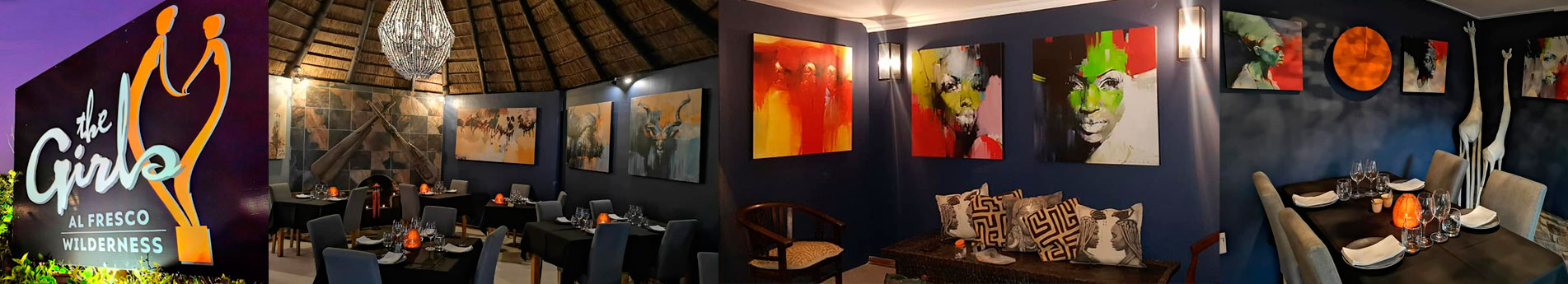 Peter Pharoah artworks at The rebirth of elegance at the Girls Restaurant in Wilderness