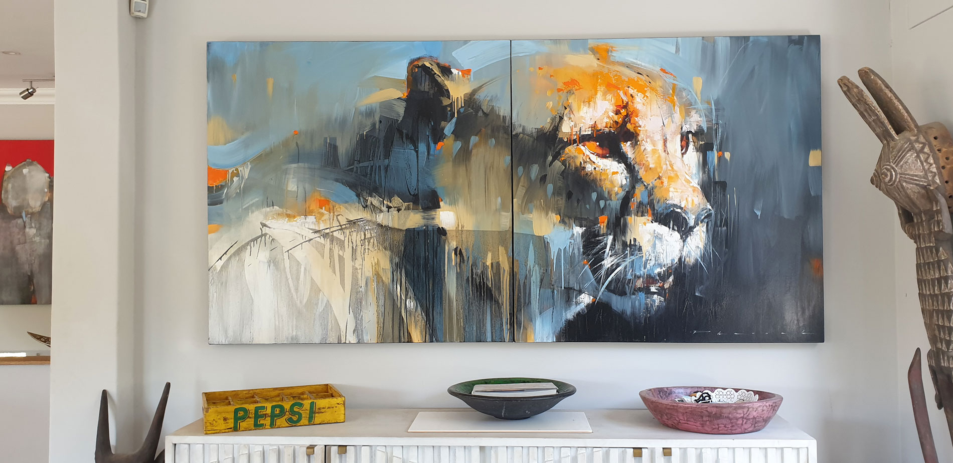 New Cheetah original on display at the artist's home in South Africa